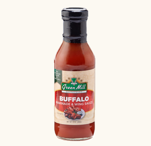 Green Mill signature buffalo wing sauce and marinade in a 13oz bottle. Buy online.