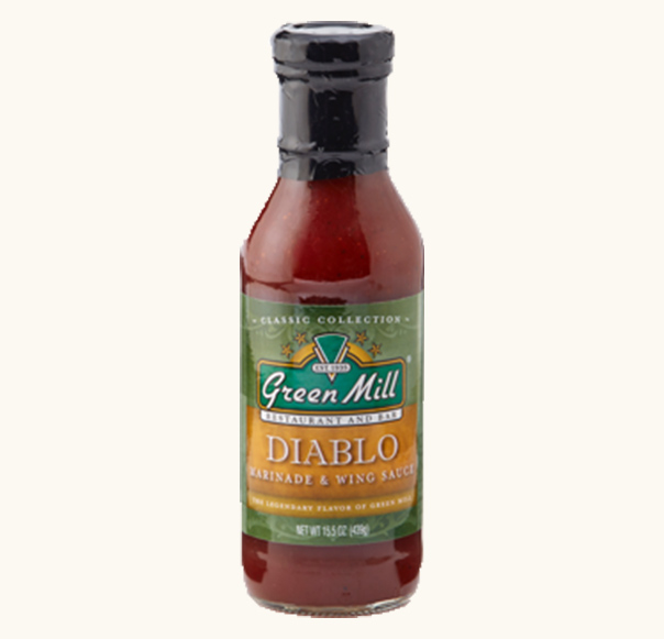 Green Mill Diablo wing sauce and marinade made with bbq and buffalo. Buy online.