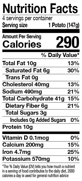 Green Mill Ultimate Twice-Baked Stuffed Potatoes Nutrition Facts