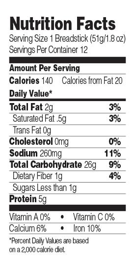 Green Mill Garlic Soft Breadsticks Nutrition Facts
